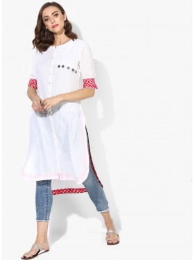 White And Pink Printed Kurta
