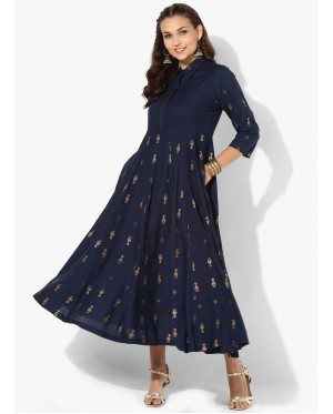 Premium Blue And Gold Anarkali
