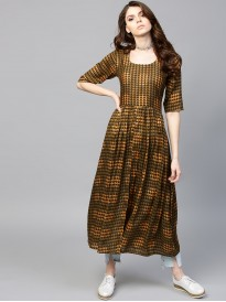 Brown Printed Panelled Kurta