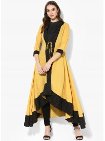 Yellow Solid Anarkali Shrug