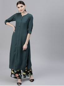 Green Solid Straight Kurta
