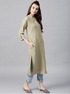 Grey Solid Straight Kurta