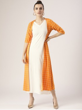 White Dress With Mustard Orange Checkered Shrug
