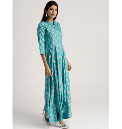 Turquoise Blue High Low Anarkali