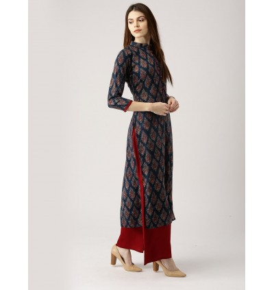 Multi Color Kurta With Solid Palazzo