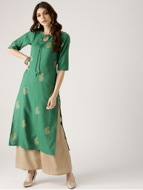 Fern Green Block Kurta With Beige Palazzo