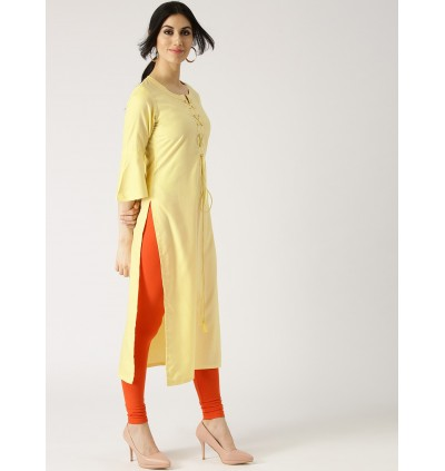 Lemon Yellow Solid Kurta