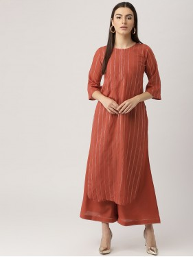 Rust Brown Striped Kurta With Palazzo