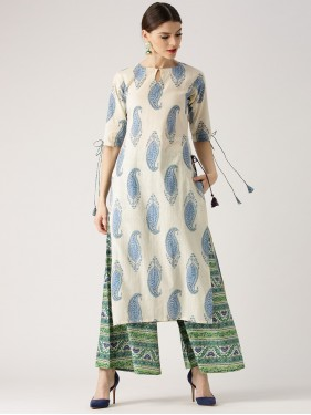 Paisley Printed Kurta With Triple Mix Palazzo