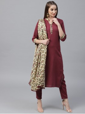 Maroon Solid Kurta With Pants And Floral Dupatta