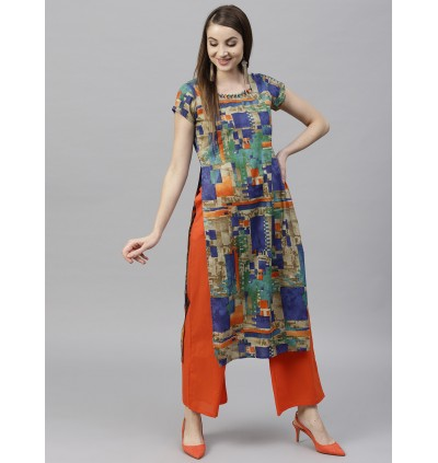 Multi Color Kurta With Orange Palazzo