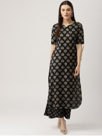 Dark Navy Blue Block Print Kurta With Palazzo