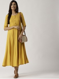 Tuscany Yellow Solid Flared Dress