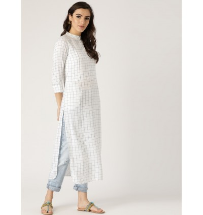 White And Blue Checkered Kurta