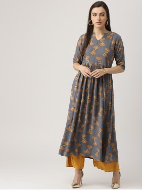 Grey And Floral Printed Kurta