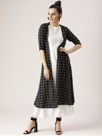 White Dress With Black Checkered Shrug