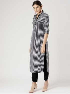 Black And White Striped Kurta With Solid Pants