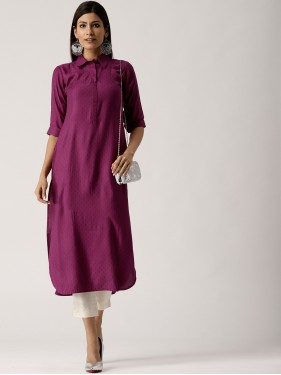 Purple Self Design Kurta
