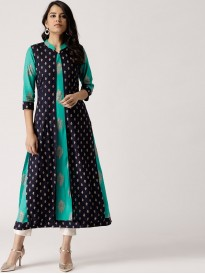 Turquoise Blue Block Print Double Layered Kurta