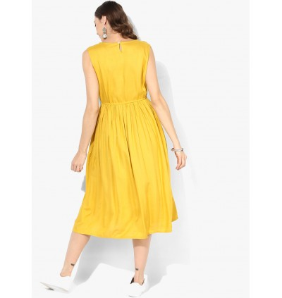 Mustard Yellow Embroidered Dress