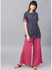 Navy Blue And Pink Printed Kurta With Palazzo