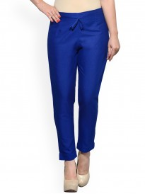 Blue Tapered Flat Pants