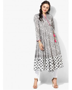 Grey Floral Embroidered Anarkali