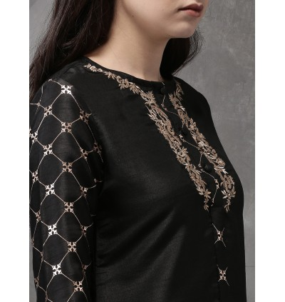 Black And Gold Printed High Low Hem Kurta