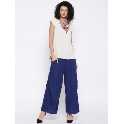 Blue Solid Pleated Palazzo