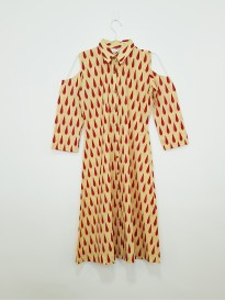 Yellow And Red Leaf Printed Kurta