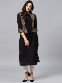 Black Kurta With Golden Short Detachable Jacket