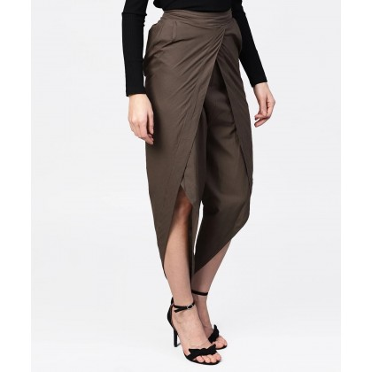 Olive Solid Tulip Pants