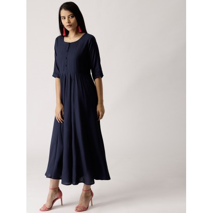 Navy Solid Flared Dress