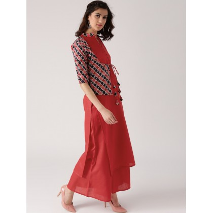 Red Cotton Solid Kurta With Jacket Style And Red Cotton Solid Palazzo