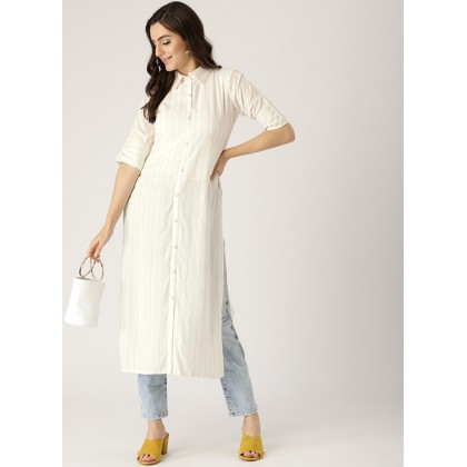 White And Yellow Rayon Striped Straight Kurta