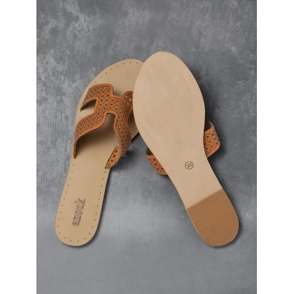 Brown Solid Flats
