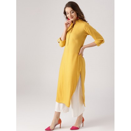 Mustard Yellow Solid Straight Kurta