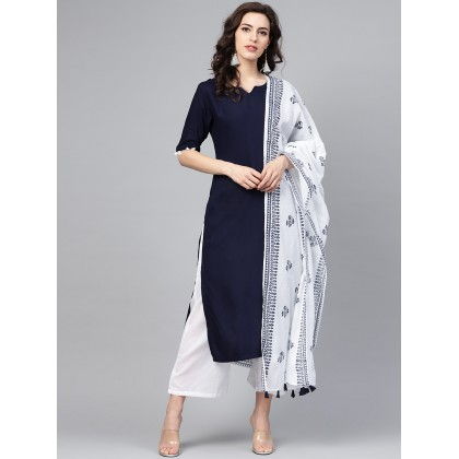 Pantone Navy Blue Solid Kurta With White Palazzo And Dupatta